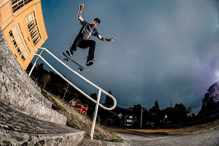 Chris Cole on skateboard jumping