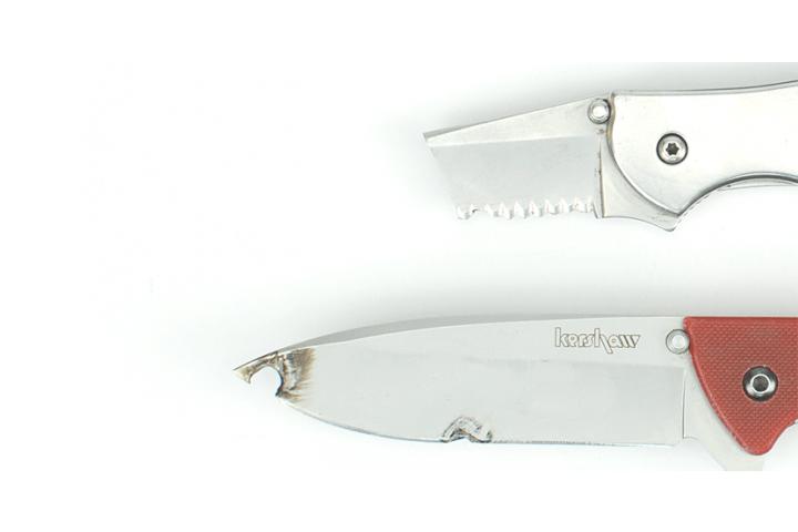 Broken knife blades